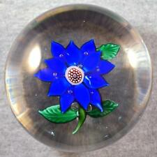 MAGNUM VINTAGE BOSTON & SANDWICH or NEGC BLUE POINSETTIA FLOWER PAPERWEIGHT