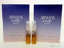 Armani Code Satin Eau de Parfum Perfume EDP Sample Vial .04 oz 1.2 ml x 2 PCS