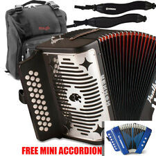 Hohner Panther GCF Sol 31 Button Accordion with Bag, Strap & Blue Mini Accordion
