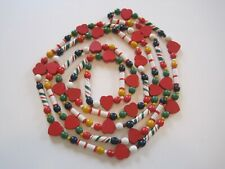Vintage Wooden 190 Beads Hearts Country Christmas Valentine Garland Approx. 9'