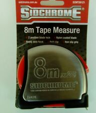 sidchrome tape measure 8 metre  tradesmans heavy duty stainless rubber grip