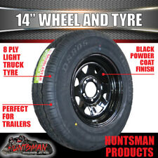 14 X 6 185 LT Ford Sunraysia Wheel Rim & Tyre Black Trailer Boat Caravan 185r14