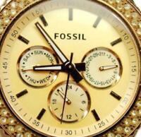 Woman Watch Fossil Rhinestone Military Day Date WR 5atm Rose Golden Glo New Batt