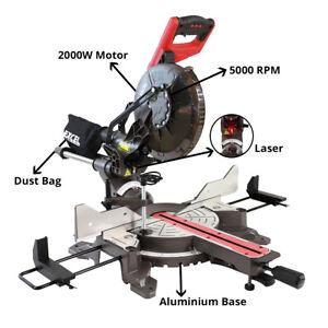 "Excel Mitre Saw Compound Sliding 10"" 255mm 2000W Double Bevel Cut Laser Blade"