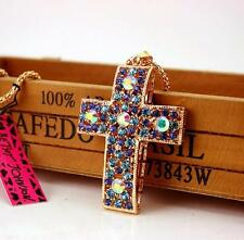 Woman Charm Betsey Johnson Blue Crystal Cross Pendant Enamel long Necklace