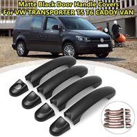 8Pcs/Set 3 Door Handle Covers Matte Black ABS For VW Transporter T5 T6 Caddy Van