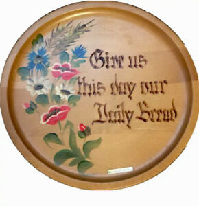 Baumholder Germany Wooden Plaque Wall Hanging Hand painted give us this day