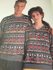 Disney Micky And Minnie Filmstrip Jumper For Men & Women Knitting Pattern