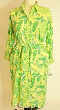 Lilly Pulitzer Woman's Dress XL Caroline Long Sleeve Cotton Belted Butterfly