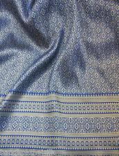 ROYAL BLUE GOLD THAI SILK DAMASK FABRIC WEDDING DRESS SKIRT TABLECLOTH LD