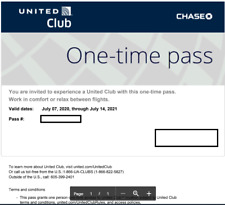 Two United Airlines Club One-time Passes - Fast E-Delivery Exp. 7/14/2021