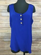 Vtg Adrianna Papell Tank Top Shell Women's 100% Silk Size L Imperial Blue