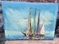 Belle Peinture Marine mer bateau Huile Sur toile hst signé A identifier