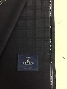 Scabal Gris Oscuro a Cuadros Lana Pura Suit Tela 340g- 704553 Tornado Grupo