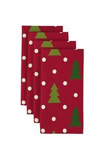 """Christmas Trees Red 18"""" x 18"""" Napkins 1 Dozen"""