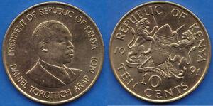 Kenya 1991 10 Cents 1991 Daniel Moi KM-18 - US-Seller