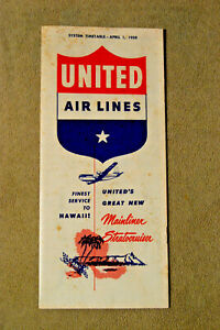United Airlines System Timetable - April 1, 1950