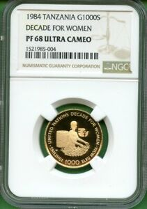 TANZANIA  1984   GOLD  1000S   DECADE FOR WOMEN  NGC PF 68 ULTRA CAMEO