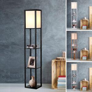 3-Tier Shelf Floor Lamp w/Shade Standing Light Open Shelves Storage Living Room