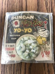 Vintage Duncan MARDI GRAS YO-YO on card - sealed in plastic never opened!