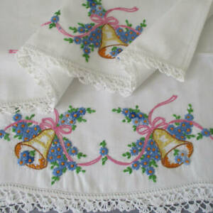 Pr Antique PILLOW Cases Hand Embroidered BELLS Flowers BOWS LACE Trim * WEDDING