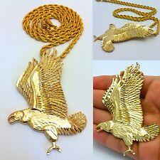 "MENS GOLD FLYING EAGLE PENDANT 4MM 30"" STAINLESS STEEL ROPE CHAIN NECKLACE"