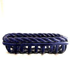 ceramic blue open weave braided bread basket 16X5.5