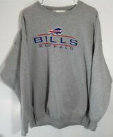 Vtg 90s Buffalo Bills NFL Embroidered Gray Logo Athletic Crewneck Sweater Sz 2XL