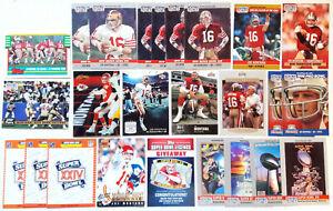 Joe Montana VINTAGE LOT of 24 San Francisco 49ERS Super Bowl Ring NFL CARDS
