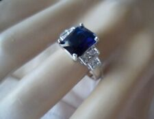 Vintage Jewellery Gold Ring with Blue White Sapphires Antique Deco Jewelry 10 U