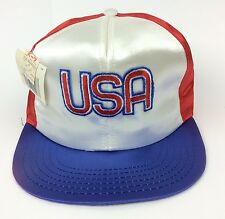 3da608c95f69b Vintage USA Red White And Blue Satin Snapback Baseball Hat Cap Made In USA