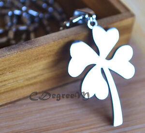 Stainless Steel Four Leaf Clover Irish Lucky Flower Pendant Necklace Unisex