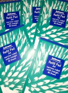 5 X A4 Lined Paper Refil Pads. 80 Pages. Joblot School office work writing kids