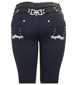 Ladies womens black fashion stretchy skinny buckle jegging jeans leggings 10-20