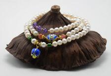 T03 Bracelet Freshwater Pearls Amethyst Lotusknospe Sterling