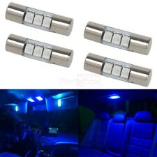 4pcs Blue 23mm Festoon Car Interior Mirror Lights Sun Visor Lamp 3-LED