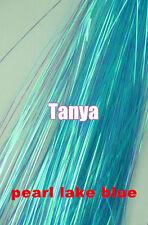 300s pearl lake blue silk hair tinsel flare strands hair bling salon extensions