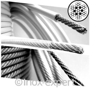Drahtseil PVC-Ummantelt Edelstahl A4 Reling-Seil Seewasser- UV-Beständig Nirosta