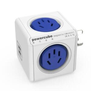 Allocacoc Powercube 4 Power Outlets + 2USB  Corldless pop up BLUE Local Stock