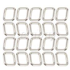 20pcs Silver Rectangle Metal Dee Ring D Webbing Belt Ribbon Buckle For 20mm