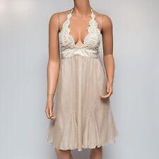 NWD Ingwa Melero Pearl Ivory Chiffon Silk Virgo Halter Dress 19 VHD Small $348