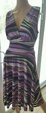 Alyn Paige New York Purple Multi-Color Stripe Stretch Jersey V Neck Dress Size M
