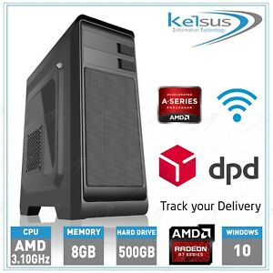Cheap Small Gaming PC Quad Core 3.10GHz 8GB RAM 500GB HDD Radeon GFX Windows 10