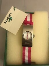 Womens Lacoste Watch Hot Pink And White Stripes