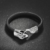 Snake Head Bracelet Stainless Steel Men S Leather Bangle Cuff Clasp Serpent Punk
