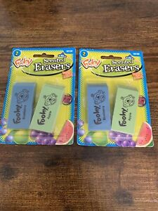NEW 2x Sanford Foohy Scented Block Novelty Erasers 2006 ~ Blueberry & Apple