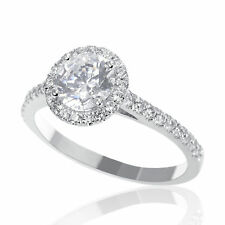 1.00 CT H/SI1 Genuine Round Cut Enhanced Diamond Engagement Ring 14K White Gold