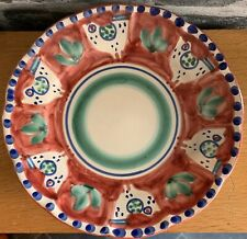 """Vietri Solimene Campagna Plate 8"""" Italy Birds Red Blue Dots"""
