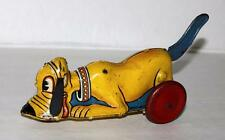 """DISNEY1939 PLUTO TIN""""LEVER ACTION""""WIND-UP TOY MANUFACTURED BY LOUIS MARX-BLUE VS"""