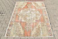 Turkish Rug 57''x74'' Vintage Light Muted Color Primitive Wool Carpet 146x190cm